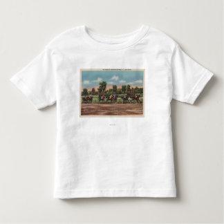 Saratoga Springs, NY - Horse Race Track Scene Tee Shirt