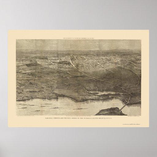 Saratoga Springs, NY Panoramic Map - 1874 Poster