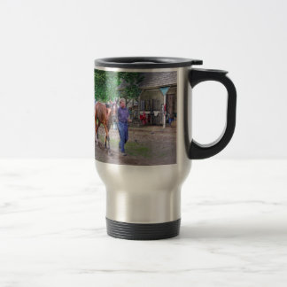 """Saratoga Stables """"Horse Haven"""" 15 Oz Stainless Steel Travel Mug"""