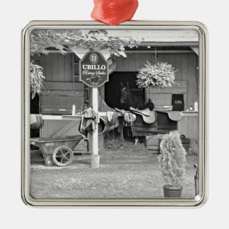 """Saratoga Stables """"Horse Haven"""" Square Metal Christmas Ornament"""