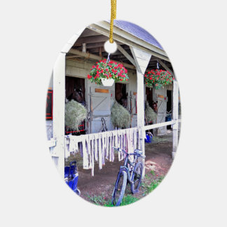 """Saratoga Stables """"Horse Haven"""" Double-Sided Oval Ceramic Christmas Ornament"""