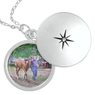 "Saratoga Stables ""Horse Haven"" Round Locket Necklace"