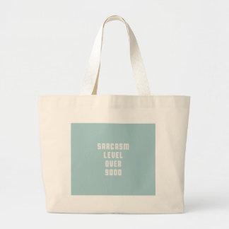 Sarcasm level: over 9000 large tote bag