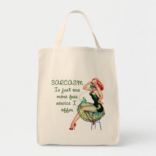 Sarcasm Pin Up Girl Grocery Tote Bag