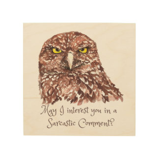 Sarcastic Comment? Watercolor Owl Bird Art Wood Canvases