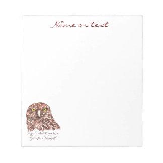Sarcastic Humor Quote Watercolor Grumpy Owl Note Pad