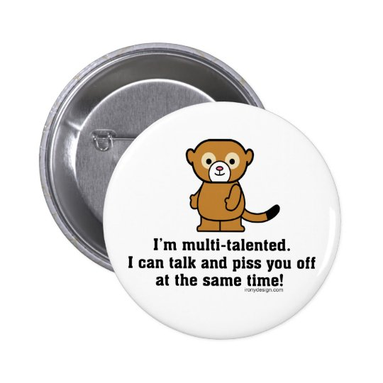 Sarcastic Insult Humor Monkey Button