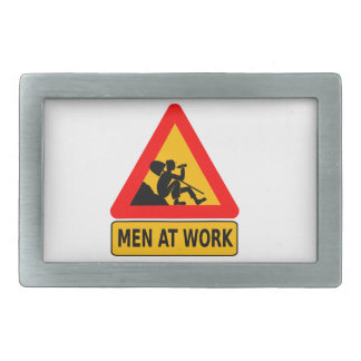 Sarcastic Men At Work Caution Sign - Drinking Belt Buckle