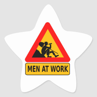 Sarcastic Men At Work Caution Sign - Drinking Star Sticker