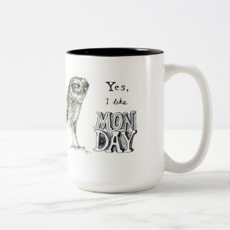 Sarcastic owl -monday - left hand Two-Tone coffee mug