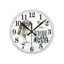 Sarcastic owl round clock