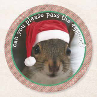 Sarcastic Santa Squirrel •Christmas Party Hit Round Paper Coaster