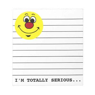 Sarcastic Smiley Face Grumpey Note Pad