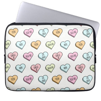 Sarcastic Valentine's Candy Heart Pattern Computer Sleeve