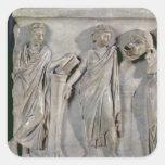 Sarcófago de las musas, detalle de Clio y Pegatina Cuadrada