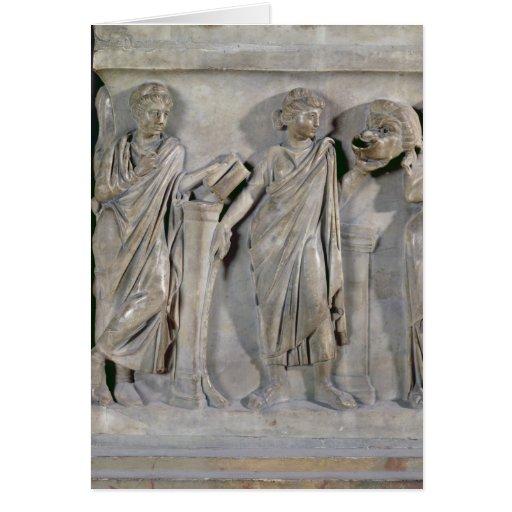 Sarcófago de las musas, detalle de Clio y Tarjeta De Felicitación