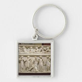 Sarcófago de las musas, romano (mármol) llavero cuadrado plateado