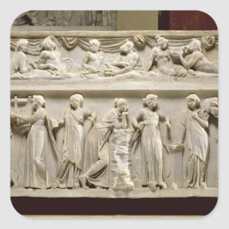 Sarcófago de las musas, romano (mármol) pegatina cuadrada