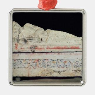 Sarcófago, Etruscan Adorno Navideño Cuadrado De Metal