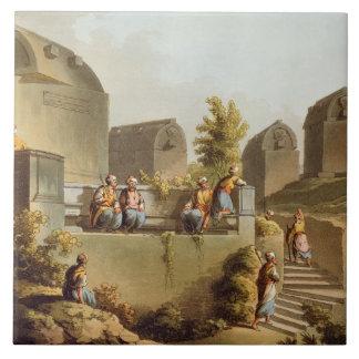 Sarcófagos y sepulcros en el jefe del Harbo Azulejo Cuadrado Grande
