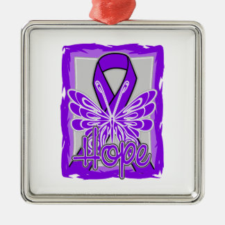 Sarcoidosis Awareness Hope Butterfly Square Metal Christmas Ornament