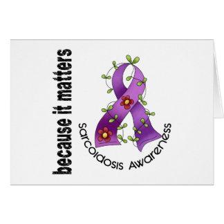 SARCOIDOSIS Flower Ribbon 3 Greeting Cards