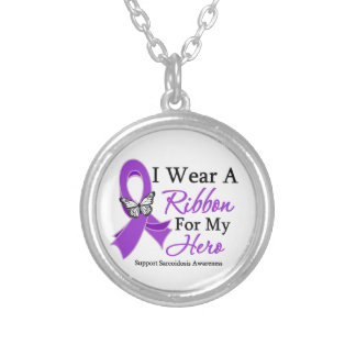 Sarcoidosis I Wear a Ribbon For My Hero Round Pendant Necklace