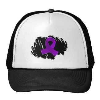 Sarcoidosis Purple Ribbon With Scribble Trucker Hat