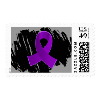 Sarcoidosis Purple Ribbon With Scribble Postage Stamps