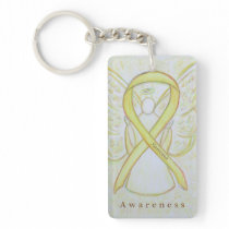 Sarcoma Angel Awareness Ribbon Keychain