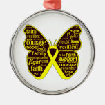 Sarcoma Butterfly Collage of Words Christmas Tree Ornament