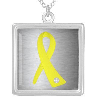 Sarcoma Cancer Awareness Ribbon Square Pendant Necklace