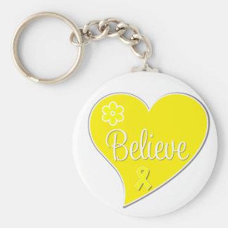 Sarcoma Cancer Believe Heart Basic Round Button Keychain