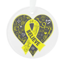 Sarcoma Cancer Believe Ribbon Heart Ornament