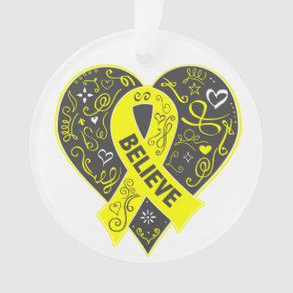 Sarcoma Cancer Believe Ribbon Heart Ornament