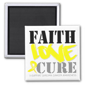 Sarcoma Cancer Faith Love Cure 2 Inch Square Magnet
