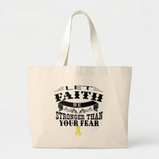 Sarcoma Cancer Faith Stronger than Fear Large Tote Bag