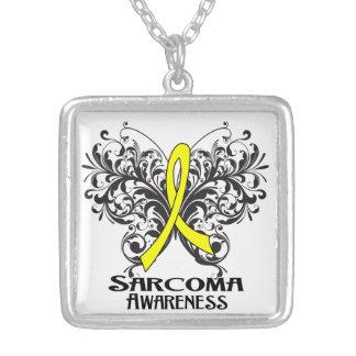 Sarcoma Cancer Flourish Butterfly Ribbon Square Pendant Necklace
