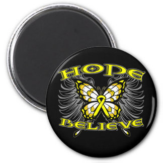 Sarcoma Cancer Hope Believe Butterfly 2 Inch Round Magnet