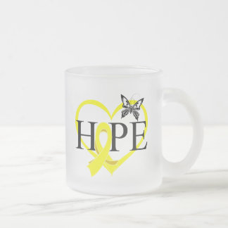 Sarcoma Cancer Hope Butterfly Heart Décor 10 Oz Frosted Glass Coffee Mug
