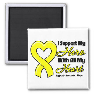 Sarcoma Cancer I Support My Hero With All My Heart 2 Inch Square Magnet