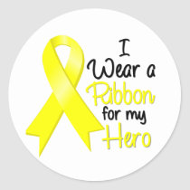 Sarcoma Cancer I Wear a Ribbon For My Hero Classic Round Sticker