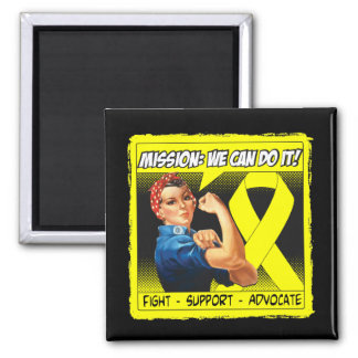 Sarcoma Cancer Mission We Can Do It 2 Inch Square Magnet