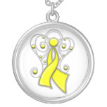 Sarcoma Cancer Ribbon Angel In Memory Round Pendant Necklace