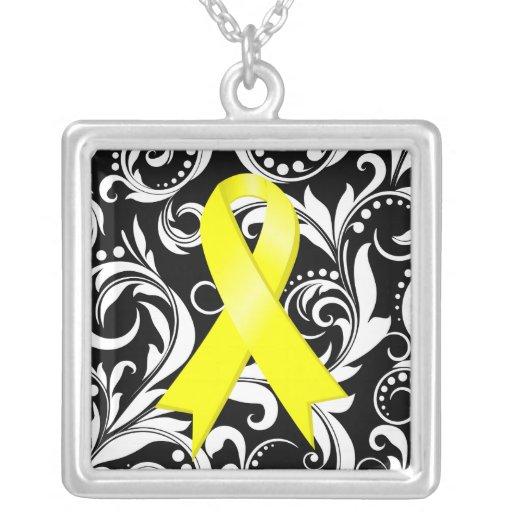 Sarcoma Cancer Ribbon Deco Floral Noir Square Pendant Necklace