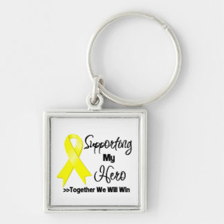 Sarcoma Cancer Supporting My Hero Silver-Colored Square Keychain