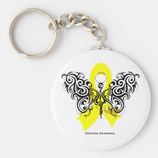 Sarcoma Cancer Tribal Butterfly Basic Round Button Keychain