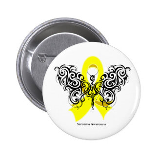 Sarcoma Cancer Tribal Butterfly Pinback Button