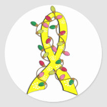 Sarcoma Christmas Lights Ribbon Classic Round Sticker