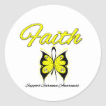 Sarcoma Faith Butterfly Ribbon Round Stickers